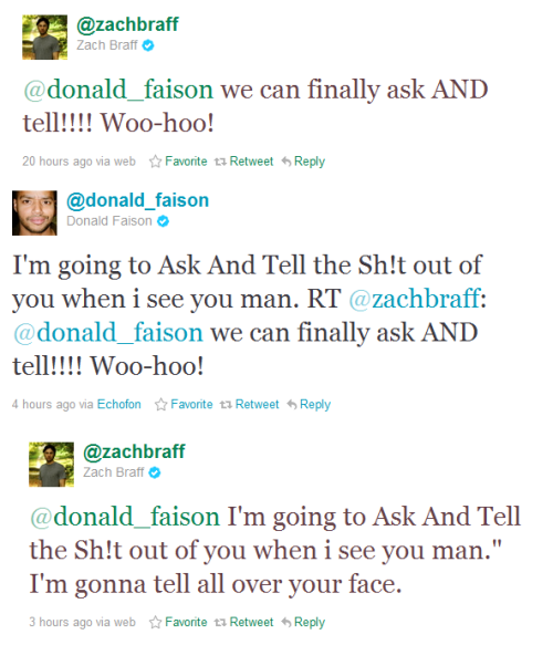 Zach Braff and Donald Faison react to the repealing of Don't Ask Don't Tell