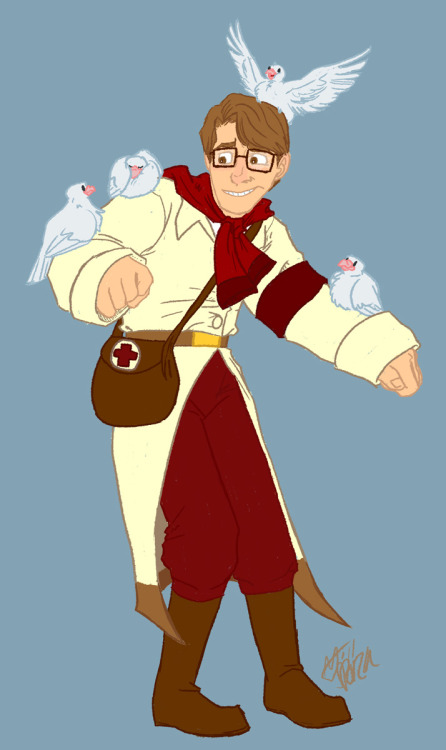 Commission for Smellen. It's her Medic OC! She didn't tell me his name because she's a jerk. Okay, his name is JULIAN THANKS GUYS!