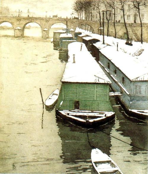 yama-bato:  1908 Tavik František Šimon (Czech, 1877-1942) ~ Pont Marie, Paris, France; Colour E – 435x370; 200 prints. G. Petit, Paris link