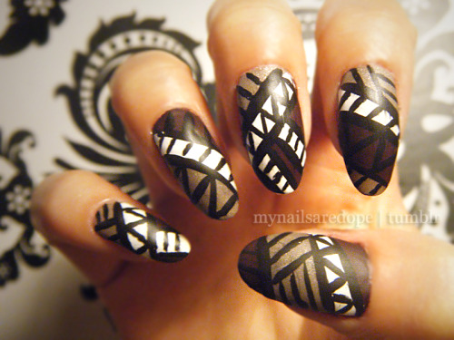 mynailsaredope:  Matte Tribal nails using Essie's Carry On & Mochacino.