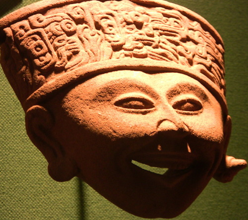 The function of this pottery face is unknown, but many such hollow figures of various sizes were produced by the Gulf Coast culture of Remojadas during the Classic Period (500-1000 C.E.). University of Pennsylvania Museum of Archaeology and Anthropology