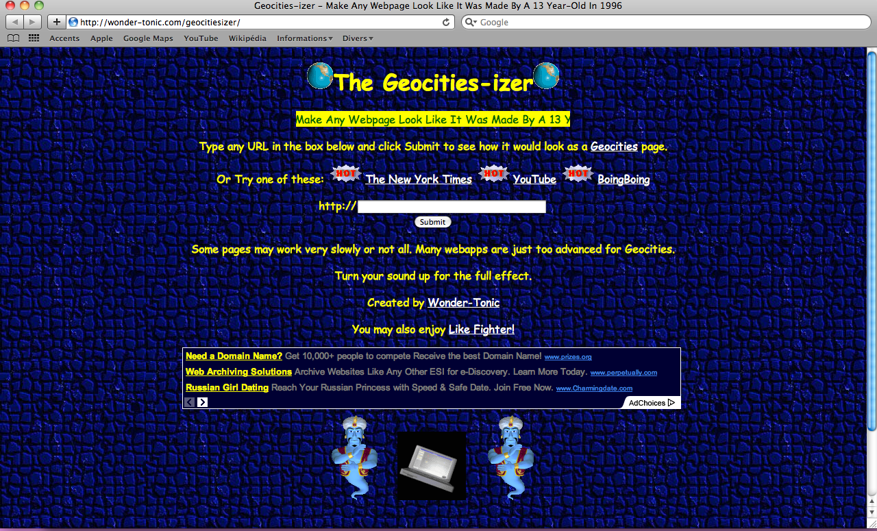 The Geocities-izer http://wonder-tonic.com/geocitiesizer