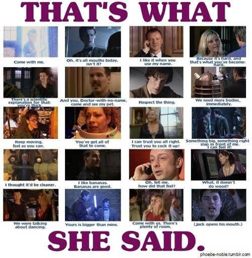 Damn you and your sexual innuendo's Moffat and Davies!