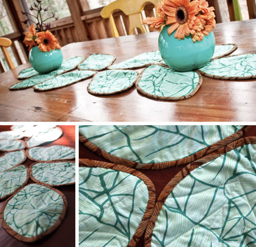 well-this-is-neat:  I think i need to make these Table Runner Leaves for Autumn! I don't have a table set up 24/7, but I can surely use them on a shelf or even my bed, right?