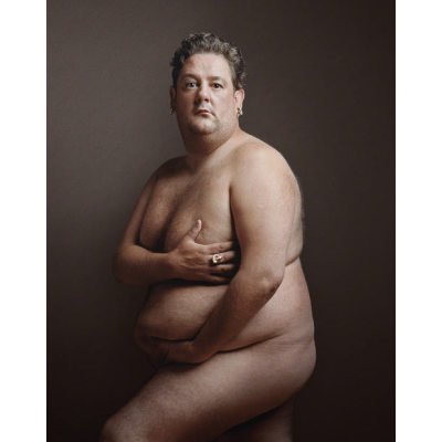 mabelmoments:  Johnny Vegas recreates the pose of a pregnant Demi Moore in this picture  by by Karl J Kaul, as part of a display charting 70 years of British  comedy heroes at the National Portrait Gallery in London.