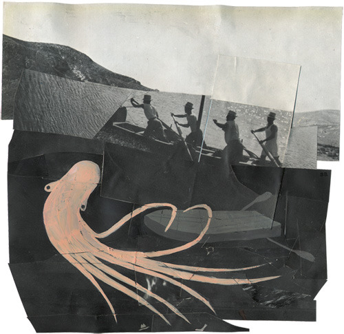 Collage by Stefanie Augustine, Fishing (via collagebox)
