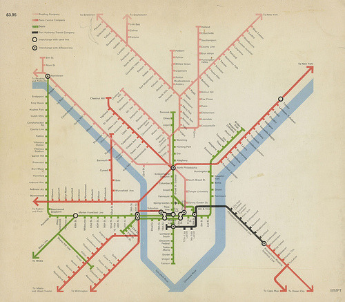 vizualize:  Philadelphia Rail Map - 1972 Scanned from the book Man-Made Philadelphia, published in 1972  (via rjwhite)