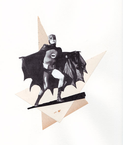 Batman, le retour… Collage on paper, 24  x 30 cm.© Gaëlle Faure - 2011. Sold.