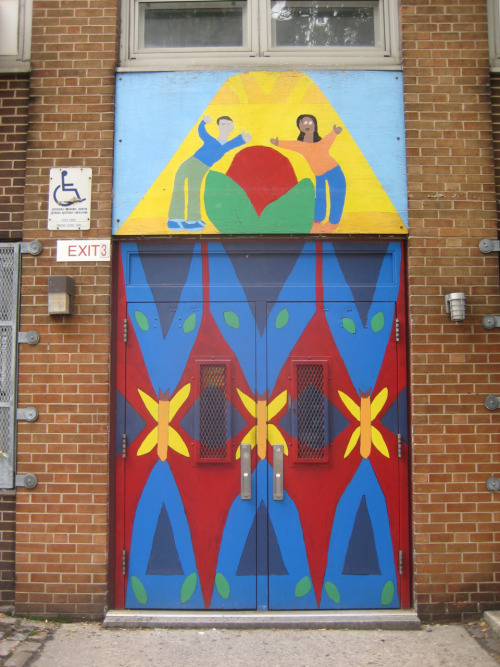 The painted entrance to a school on New York's Lower East Side.