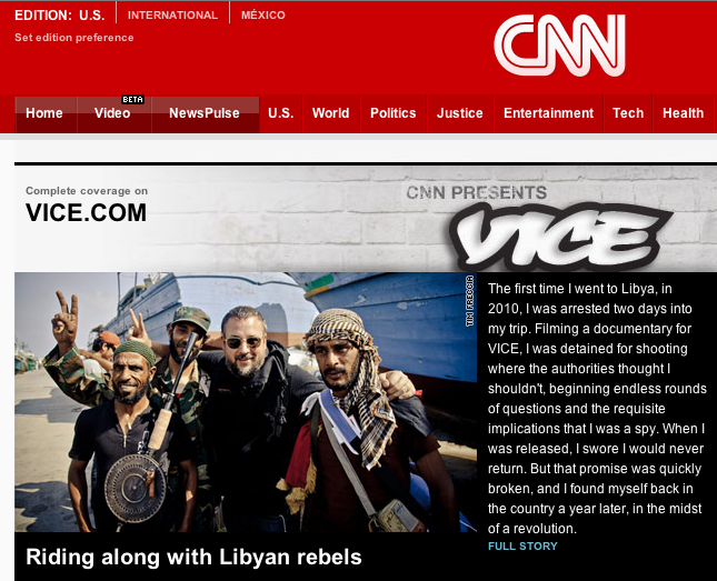 VICE's latest documentary, On The Front Lines With Libyan Rebels, is now playing on CNN.