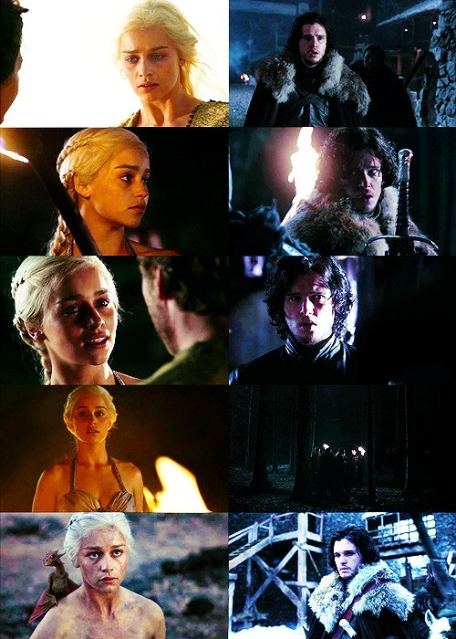 "→ Game of Thrones  |  Jon & DaenerysEpisode 1.10 - ""Fire and Blood"" Eight Ten Favourite Screencaps"