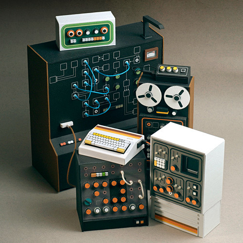 f1dot8:  Quite possibly the cutest things ever: Tiny cardboard synthesizers and musical equipment by Dan McPharlin. Wire to the Ear has an interesting interview with him, where he discusses the impetus behind making his awesome synth miniatures. read more