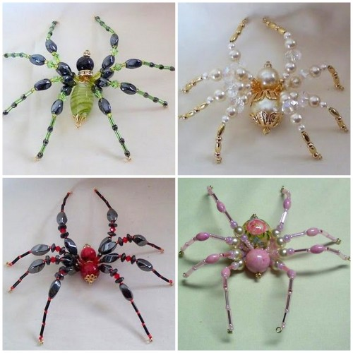 truebluemeandyou:  DIY Beaded Spider Tutorial. I saw these gorgeous spiders by Kathy Shaw, but didn't post them because there wasn't a tutorial. But now there is and you can make the one on the bottom right at Shawkl here. Other examples of these spiders can be found here. Now do I put this under Halloween or Christmas gift? I think my severely arachnophobic friend has stopped reading my Tumblr blog right around the time I started posting Halloween things :(  *combatshadowbabyv2 in her reblog added that the spider could be used as a hair clip. Why didn't I think of that?  For your Halloween jewelry :-)