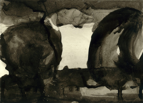 michaelcharles:  Duality, Sumi-e painting, David Adams, 2007