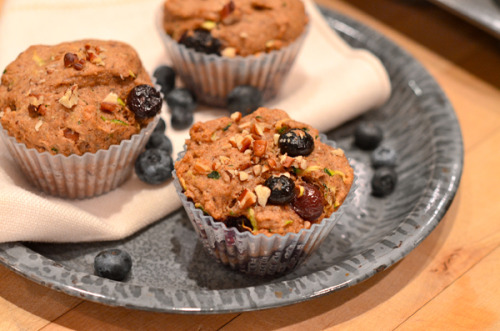 Zucchini Blueberry Muffins Here's my first contributor post for One Green Planet! I'm super excited about this, but you guys also deserve the recipe, so click on the image above to go check it out. An excerpt from the recipe: If you are looking for a recipe that is a great for transitioning from  summer to fall, this is it! You can use the last of your soft-skinned  zucchini and sweet blueberries, but also feel comforted by scent of  cinnamon and filling whole wheat. These are muffins that even the most  stubborn omnivore will love, believe me, I tested them! Feed them to  your children to sneak in more vegetables and fruit under a tasty  breakfast guise. Enjoy your wonderful Thursday, everyone! :)