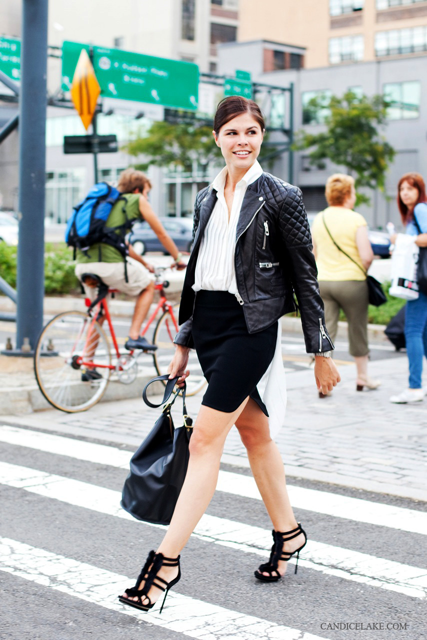 Emily Weiss, outside the Alexander Wang show in NYC. from one of my fav beauty websites, Into the gloss