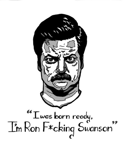 buzzfeed:  Just some Ron Swanson fan art because he's fucking back tonight! (via Deviant Art)  YAY Parks and Rec is back tonight!!