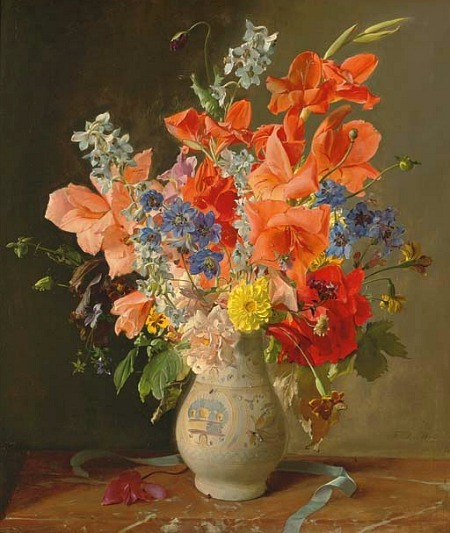 Franz Xaver Wolf Flowers in a Vase 20th century