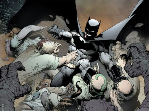 'Batman' #1: The Best New Comic of the New 52 (So Far) By Chris Sims  …a lot of what's great about this book comes from how thrilling it is right from the opening pages. This is a comic that starts with Batman in Arkham Asylum, fighting an entire army of his enemies all at once, and beating them through the shocking plot twist of teaming up with the Joker.That's a plot that could've taken up an entire issue. With the slow-paced, spoon-fed style that's been on display in some of the other DC titles, it could've taken up the entire first arc. Here, it's done in seven pages.It's a pretty great way to kick off the book, and one that does a great job of setting the tone for how this story's going to play out, especially in how it signals a shift in Snyder's storytelling. For as long as I've been reading Batman comics, there's been this idea that Detective Comics should be darker and more crime-oriented, while Batman is the super-hero action title. Of course, it's not like Snyder's run on Tec didn't have its share of that stuff — I mean, it is a comic where Batman exploded out of a parking garage so that he could catch a dude who was running away on robot legs — but what he's doing here takes it to the next level. More than that, though, it illustrates the theme that Snyder's working to build — namely, that this is Batman at the top of his game. After all, a battle against a gauntlet of enemies after a mass breakout at Arkham Asylum was the exact thing that ran Batman so ragged in the past that he got his back broken in Knightfall. Here? Seven pages. This is Batman at his prime, a guy who's already dealt with those enemies and emerged triumphant — so by page eight, we already know that whatever shows up next, whatever can challenge him, must be something truly fearsome. And we know all this without Snyder ever having to say it. He and Capullo shows us, and they do it in the most exciting way possible.Which brings me to the art, and I'll admit it: I was a naysayer. To be honest, I've never been all that familiar with Capullo's work in the past. I don't think I've ever read an issue of Spawn, the comic he's most well-known for, but I do have distinct memories of seeing him in one of those old Wizard how-to-draw articles when I was a teenager and not caring for it one bit. So as dumb as that may sound, that's what informed my expectations for this comic, and I did not expect it to be any good at all.So brace yourselves, because I don't say this often: I was wrong.   …Capullo nails it. He and Glapion do work in this comic that's beautifully dynamic, and the facial expressions and body language he gives to characters are incredibly expressive.He's got the perfect amount of exaggeration in his cartooning that makes his characters fun to look at, even when they're just walking through a crime scene.And more importantly, I love the way he draws Batman.  Read more at ComicsAlliance.