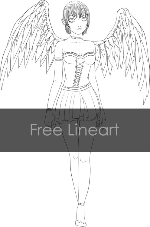 Free Angel Lineart. I fail at drawing feet >.<