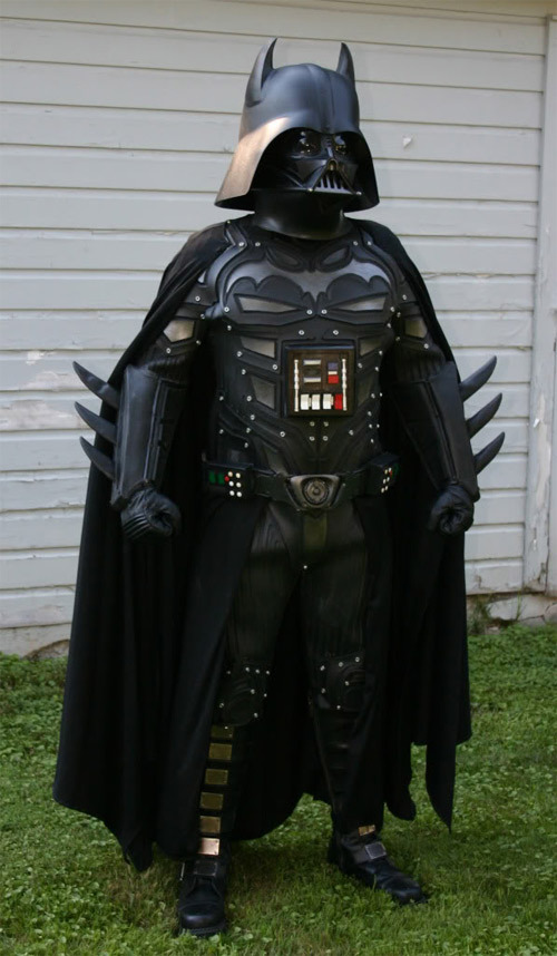 "albotas:  Darth Vader + Batman = Darthman? BatVader? BatVader's all ""come at me bro!"" 'cause his parents were brutally murdered before his eyes, so he became a Sith and blew the shit out of Alderaan. Then some other rad shit happened, but decades later, the director decided to make it all less rad for the Blu-ray edition. (via Obvious Winner)"