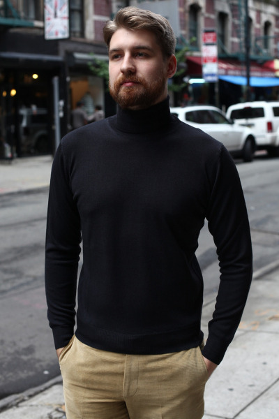 Epaulet Superfine Merino Turtleneck and Horizontal Corduroy Trousers