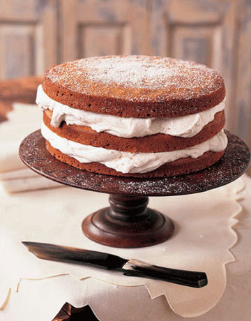 Stacked Applesauce Cake with Cinnamon Whipped Cream.Oh my does that look good!  Recipe link below photo