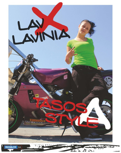 Lav Lavinia under the helmet (magazine tear sheet). Stunt rider from Larnaca, Cyprus.