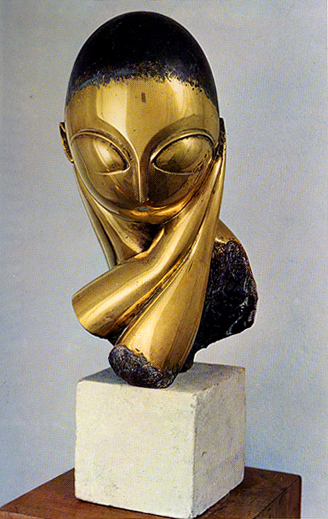 Constantin Brancusi, Mlle Pogany, v. I, 1913 bronze with black patina on limestone base