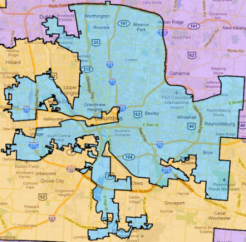 "This is what the new gerrymandered Ohio district centered on Columbus looks like. It's a beaut. Unlike Luis Gutierrez' famous ""earmuffs"" district in Chicago, this district wasn't drawn as a majority-minority district for Voting Rights Act compliance. (The VRA requires the creation of majority-minority districts.) It was drawn purely as a Democratic vote sink.  This is a great early example of what the GOP is going to be able to do now that the party has unprecedented control over redistricting in the wake of massive state-level victories in the 2010 elections. For more, check out this story."