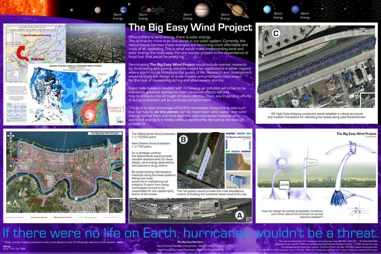 """The Big Easy Wind Project"" This is a concept I submitted for a design competition sponsored by the Buckminster Fuller Institute. Upon reading Peter Lewis' activism on repealing marijuana prohibition, I'm hoping someone like him could help to make my concept a reality. Note: one thing I failed to do was to put in some numbers about the pricing and quantity of shipping containers themselves… It would take about 48 miles of 45 ft. long High Cube (9 ft - 6 in. tall) shipping containers to make a perimeter wall around New Orleans.  48 miles = 253,440 ft. 253,440 ft / 45 ft = 5,632 45 ft. long High Cube shipping containers In bulk, it is reasonable to estimate the price of that many shipping containers to be about $1000 each, thus it would cost about $5.6 million in shipping containers alone (not including labor and other materials). ____________________ Storm surge easily represents the greatest hazard ever posed by a  hurricane. It is this water which provides the most loss of life and  does the most damage as it is being driven by the circulating storm  wind. In the last 107 years, at least 25 hurricanes have struck  Louisiana. Over a dozen of which had speeds over 100 mph. On August 29,  2005, the latest tragic character, Hurricane Katrina, debuted with the  strength of a Category 3 hurricane on Louisiana's eastern region. A mere  30 minutes  	 after landfall, rainwater combined with the surge began ""overtopping""  the levees throughout the city producing their catastrophic erosion.  This resulted in 250 billion gallons of water flooding New Orleans  claiming over 1400 lives inundating 80% of the city. A few flooded pump  stations compromised the drainage system and proved no match for the  ensuing surge. As these systems failed, the city was left vulnerable to  immeasurable water damage.   80,000 businesses and over 160,000 homes were damaged by flooding from  Katrina and a month later by Hurricane Rita. This scenario is repeated  the world over for countries that lie in the path of recurring  hurricanes and typhoons. The Big Easy Wind Project (TBEWP) seeks first  to reduce the threat of storm surge by augmenting a levee system with a  means of evacuating water through the use of the abundant wind energy  provided by the storm itself.   Thus far, over $100 billion of Federal money has been poured into New  Orleans and surrounding areas as a means only of recovery and represents  the tip of the iceberg in what is truly necessary. By managing the  threat of storm surge, the after effects of debris and contaminated  water with the likes of disease and chemicals are also managed. The  resources required to clean-up from storm surge after the fact is  currently greater than the means of preventing the water damage.  Commonly after a major storm, a city's electrical resources are  disrupted from failures in power distribution. However, road blockages  due to debris or water only add to the problem of proper drainage.   The lifecycle of planet Earth's ecosystems rely on the sun evaporating  water. As the water condenses in the Troposphere, it falls back to  Earth. This process produces the very hurricanes that will continue to  threaten the livelihood of people who live in the path of tropical  cyclone systems. As the birth place of jazz, The Big Easy can be a model  for its preservation using instruments of the wind.  For TBEWP to be fully successful there must be an alliance to implement  devices that harness hurricane-force winds as a means of evacuating the  accompanying surge. Utilizing this extreme energy to remove any surge  water would be a more timely solution as opposed to using disrupted grid  electricity afterwards. If there were less inhibition regarding the use  of wind energy as a renewable organic resource, it would be more likely  we would have evolved the technological capability of maximizing the  energy of a hurricane. Especially considering that historically, wind  energy has been used to pump water. However, as we became more dependent  on foreign oil, the domestic use of wind energy and other forms of  alternative energy declined. Along with it, the pace of innovation  slowed. Typical commercial grade wind generators can only effectively  harness wind at speeds between 14 mph and 40 mph. Tropical Storms, the  most frequent form of storm energy to affect Louisiana and surrounding  coastal regions, will have wind speeds greater than 39 mph which may  also be combined with lightning and / or tornadoes. A Category 5  hurricane will produce the most extreme carpeting effect with speeds  over 150 mph. Typically, after every storm, the sun provides an abundant  source of free energy.   The proposed conceptual wind generator would utilize mag-lev technology  as a means of rotating blades moved by the wind and would eliminate the  need of a restrictive rotor shaft. This technology has a proven track  record of propelling magnetically levitated trains to near supersonic  speeds unachievable with conventional combustion engines. As traditional  wind generators maximize their output by the span of the blades,  hurricane generators would rely on the speed of the wind. The output of  one hurricane generator could then match the output of multiple  conventional commercial grade megawatt wind generators. It should be  expected that perhaps all of the electricity generated from a hurricane  wouldn't be utilized right away. Existing technology is available to  store a quantity of electrical energy in the form of batteries. A  flywheel generator, on the other hand, requires no toxic, hazardous  chemicals to store its electricity.   As a means of evacuating storm surge water, an additional crude water  network would have to be established. For example, the Sewerage and  Drainage board of New Orleans has a capacity of 29 billion gallons of  water a day. Lacking interruption, it would take 8.62 days to pump 250  billion gallons of water without the assistance of water flowing back to  its source. Evacuated storm water could be routed to in-ground  reservoirs with capacities matching that of crude oil tanker ships. It  will be here that the water would be properly treated, stored, and  distributed locally as potable water. Left untreated, this crude water  could be shipped to global destinations for treatment abroad. The  reservoirs would also have the added capacity of being an abundant  source of algae for use as a biofuel.  Lastly, shipping containers would form the structural building blocks  for levees surrounding Lake Pontchartrain and the Mississippi River. To  protect the soil surrounding the shipping containers, Mangrove and  Cypress trees would aid in maintaining soil integrity. Solar power after  the storm would assist with remaining water drainage and recovered  debris would be an environmentally friendly source of electricity by  means of plasma arc gasification.  The notion for funding an extreme wind energy project as a significant  renewable resource is likely to require an equal measure of justice for  manifestation. It is this reason that one less law against hemp and  marijuana would create an annual source of revenue in excess of $10  Billion due to money saved by minimized law enforcement to be invested  towards The Big Easy Wind Project.   The Louisiana Department of Revenue is responsible for generating funds  for state projects through taxation, gambling, alcohol and tobacco (both  made from plants). An additional department for regulating hemp for  industrial use and marijuana for recreational use would be implemented  and responsible for licensing. The first 420 licenses sold at $42,000  would generate $17,640,000. If America's population over 18  (225,633,342) donated $4.20 towards TBEWP, $947,660,036.40 would be  raised as potential revenue. The reasons for hemp and marijuana's  criminalization without scientific evidence 70 years ago are mired in  racism, ignorance, intimidation, and even portrayed the lifestyle of  jazz musicians as a cause of marijuana addiction. In reality, hurricanes  have killed more people than those who recreationally use marijuana,  yet a vast amount of resources is spent keeping a non-lethal plant  illegal and should be properly invested as hurricane protection. The  agricultural, environmental, and transportation benefits in hemp oil  alone would favor Louisiana which has the second largest refining  capacity in America. A reduction in the demand for foreign oil would  generate additional savings while also boosting the American economy  with the addition of hemp as a tradable commodity. As hemp would be in  demand for fuel, food prices should fall and corn could be returned to  the dinner table.   More conventional methods of financing TBEWP include the Statewide Flood  Control Program in Louisiana. It has the purpose of reducing existing  flood damages by providing guidance and public funds to build flood  control infrastructure. This program may provide up to 90% of  construction costs. Nationally, the standard cost-share for water  related projects are 65% Federal and 45% local. State incentives exist  for jobs created by TBEWP and would also be eligible for Federal  incentives in the form of tax credits.  I graduated with a Bachelor's of Science degree in Industrial Design in  May of 2001 from Virginia Tech. One thing I've learned is that the  future is here and I'm living in it. I once dreamed of robots  and now read about them racing in the desert, with a little help  from the military. What we can achieve with technology is a  wonderful thing. There are two robots, still living, on Mars to prove  this. But these accomplishments would not have been possible without the  military which has assumed the responsibility of manifesting hard work  into our liberties to become a part of everyone's lives as a result,  with or without one's acknowledgment of their existence. When it comes  to New Orleans, life saving from hurricanes and flood damage is largely on the shoulders of the Army  Corps of Engineers. The time has come to give THEM the tools and  resources needed to do their job.   Let us dream about saving cities like New Orleans. With union, extreme  justice, and steadfast confidence, The Big Easy Wind Project can become a  reality on Earth and beyond.  http://challenge.bfi.org/application_summary/12 © 2007, 2011 Jerry D. Elmore"