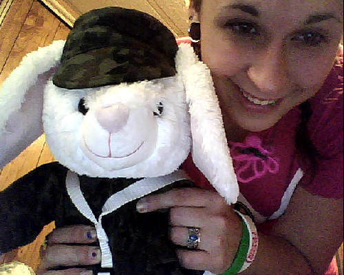 The bunny my mom is sending to my brother :) And yes, I'm wearing a Pink Power Rangers shirt.  Haters gonna hate. :)