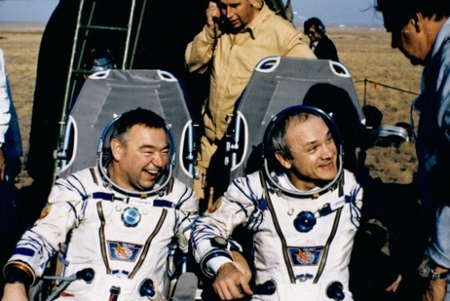 A happy Georgi Grechko and Vladimir Dzhanibekov after landing aboard Soyuz T-13. This was before they were gifted with watermelon. (1985)