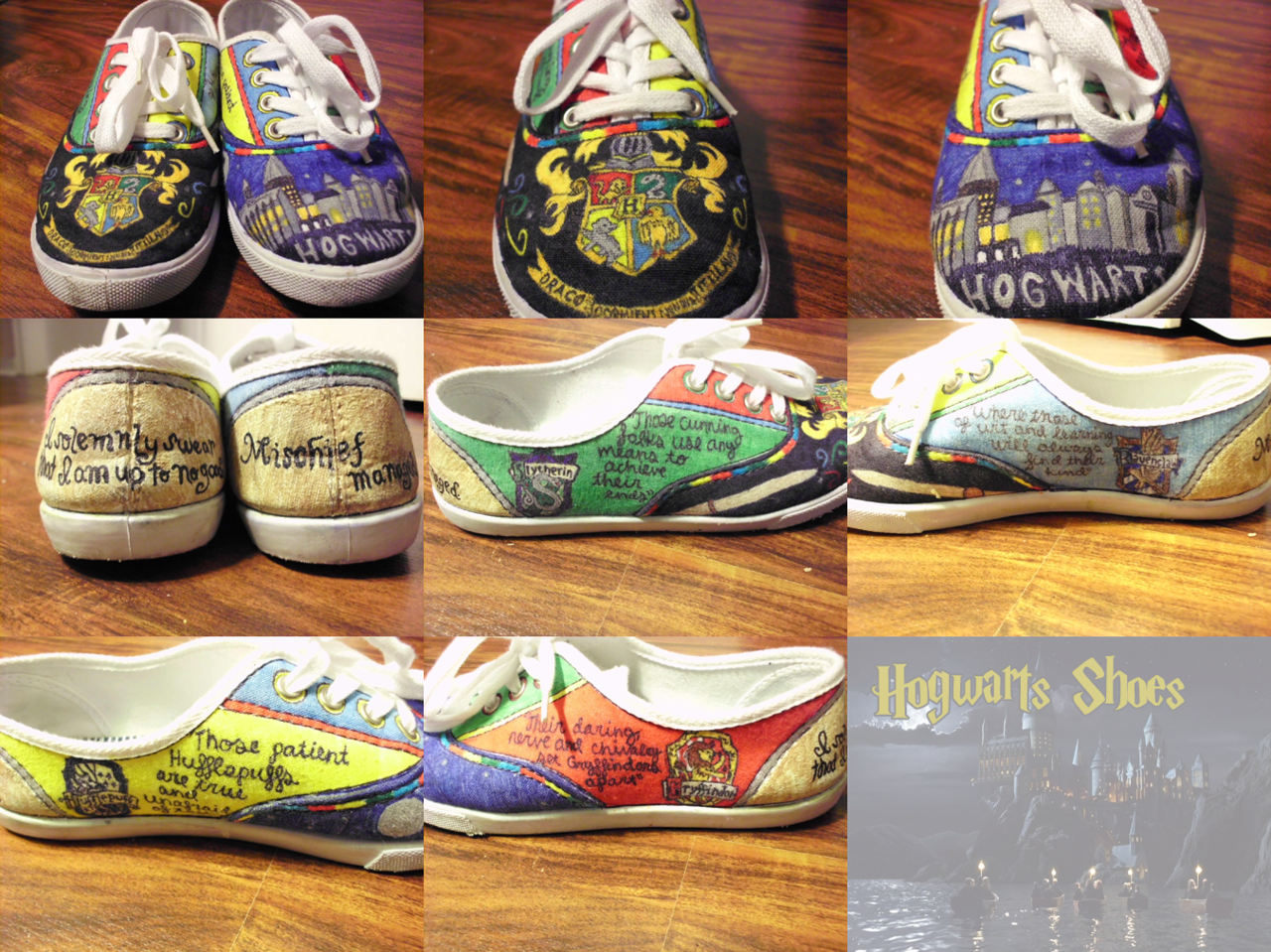 sydneyxcat:  Finally completed! I'm really proud of them. :) Got the idea when I was waiting for my Pottermore email. Took about 12 hours total, Sharpies, Bic Permanent Markers, Fabric Markers and a tiny bit of white fabric paint. I can make you your own pair, just check out my Etsy. I can even knock down the price if you supply your own shoes. http://www.etsy.com/shop/sydneyxcat