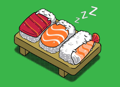 cute sleeping sushi illustration by Benjamin Ang (t-shirt via threadless)