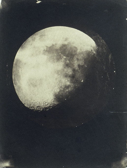 The Moon by John Adams Whipple, 1857–60  In  December 1849, John Whipple made his first photograph of the moon, a  daguerreotype taken through the telescope at the Harvard College  Observatory in Cambridge.  Although he did not make the first lunar  photograph in America, in terms of accuracy and aesthetics Whipple  produced what were internationally recognized as the most sublime  photographs of the moon.  This study, made with his partner James Black,  recalls the maxim in astronomy: the more clearly one can see an object  in space, the more beautiful it looks. via: Metropolitan Museum
