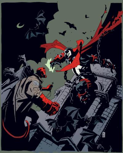 simpelskurk:  hellboy vs spawn by mike mignola