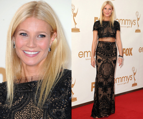 "Here is Gwyneth Paltrow at the 2011 Primetime Emmy Awards.  Her makeup was done by Kate Lee. FACEPrep the skin with Chanel Beaute Initiale eye crème ($70)Chanel base Lumiere as a primer ($42)Chanel Perfection Lumiere foundation ($55) Applied with a damp BeautyBlender sponge ($20)Kanebo Brush Under Eye Concealer ($33)On cheek bones, By Terry Rose de Rose Liquid Blush ($52) in Coral Rose, Apples were popped with Kevin Aucion Creamy glow Blush ($24) in Euphoria  EYESChanel Illusion D""ombre ($36) in Emervielle with FantasmeNoir Kohl Liner ($15) and Black Shiseido Brush Liquid Liner ($29)Chanel Blond pencil ($29) and Anastasia Brow Gel ($21) Total: $462.00  Source:  StarworksArtists.tumblr.com These are products you can use to Create This Look For Less. FACEOlay Definity Illuminating Eye Treatment ($14)L'Oreal Studio Secrets Professional Magic Perfecting Base Primer ($12)Almay Line Smoothing Liquid Makeup ($12)BeautyBlender sponge ($20)L'Oreal Visible Lift Serum Absolute Concealer SPF 17 ($13)On cheekbones apply Revlon Cream Blush ($10) in Rosy Glow and on apple of cheeks apply Maybelline Dream Mousse Blush ($7) in Soft Plum EYESMaybelline Eye Studio Color Plush Silk Eyeshadow Give Me Gold.  Using the 1st color on the left and 3rd color. ($10)L'Oreal Le Kohl Pencil Smooth Defining Eyeliner ($8) in OnyxMaybelline Line Stiletto Ultimate Precision Liquid Eyeliner in Blackest Black ($7)Revlon Brow Fantasy Pencil & Gel ($8) Total:  $121.00"