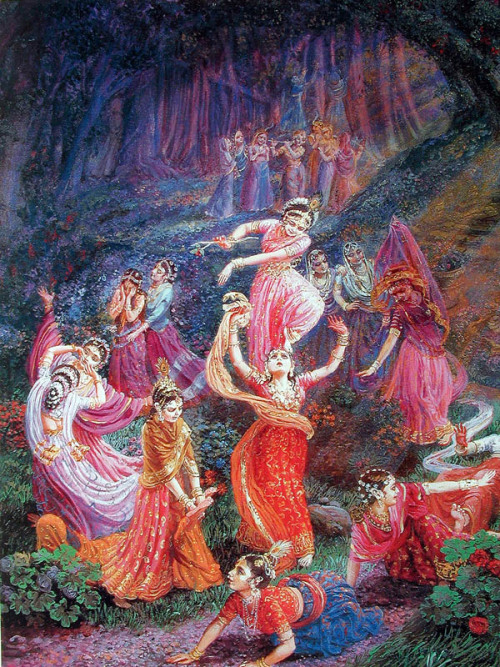 In the maddening ecstasy of separation, the gopis imitate Krishna's pastimes…