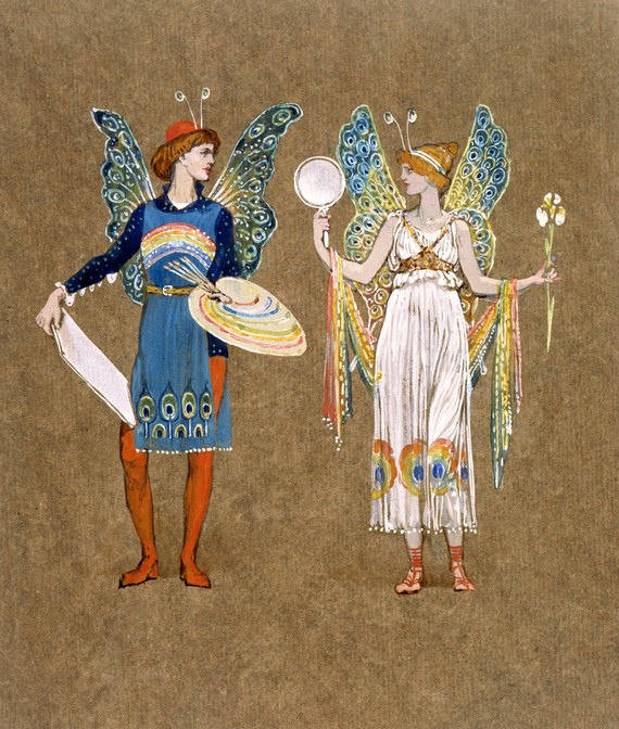 art-mirrors-art:  Walter Crane - Costume design with an elf and a fairy (1899)
