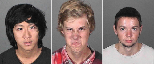 Three arrested in bungled beer heist in Covina: In an attempt to escape, they crashed a car, hit an employee who chased them, ran through a car wash and left behind an ID. This! This is how you do a mugshot, guys. Photos, from left: Andy Huynh, Nicholas Fiumetto and Nicholas Kalscheuer. Credit: Covina Police Department
