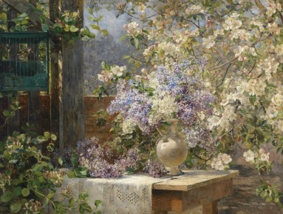stilllifequickheart:  Marie Egner In the Blossoming Bower 1896