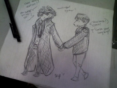 This is what I do at work when I'm bored. I draw Sherlock and John on wipe-all's. This is what my life has become.  Seems like a productive and fulfilling life to me.