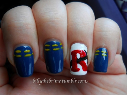 Nail Art Challenge Design 13: Favorite Movie/TV Show I'm… Repair Man-man-man-man-man-man-man! Mehuhehuhue Colors Used: NYC- White French Tip E by Essence Denim Wanted!- My Boyfriend's Jeans L.A. Colors Art Deco- Red Glitter and Black and Yellow