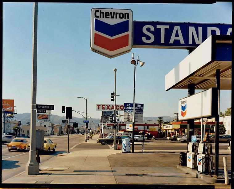 commedesfuckdwn:  Stephen Shore — La Brea Avenue and Beverly Boulevard, Los Angeles, California, June 21, 1975 (Houk Gallery)
