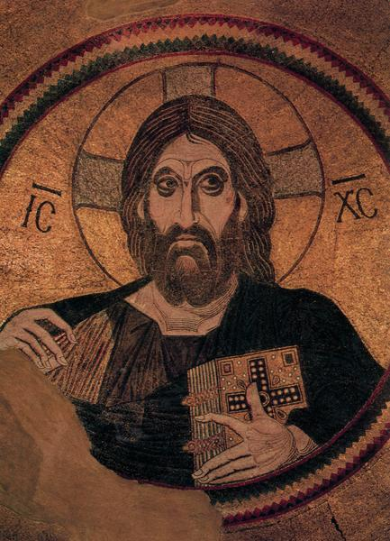 cavetocanvas:  Christ Pantokrator - Mosaic in the central dome of the Church of Dormition, Daphni, Greece. c. 867-1204 (Middle Byzantine)  AKA Ballchinian Jesus. The only way to pass Art History is to make up funny names to memorize things. Though it doesn't do me any good now that I can't think of what it actually is called. Instead, all I can think of is how remarkably similar his chin is to a pair of balls.
