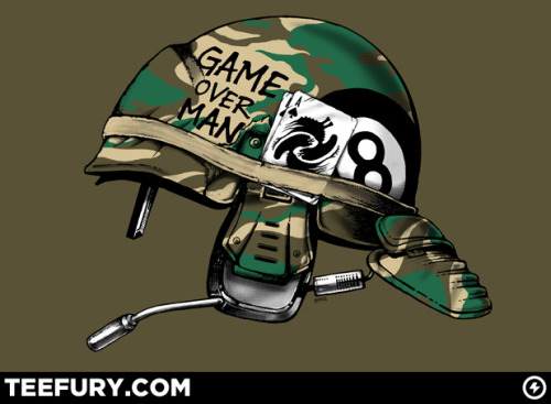 """Game Over Man"" will be featured at www.teefury.com on Saturday, September 24, 2011. 24 hours. $10 tees. Don't miss out!"