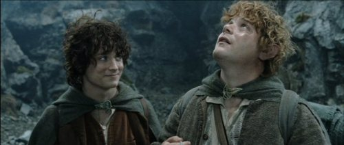 singingandreading:  I will forever love this pic.  teehee! look at frodo smiling at him XD