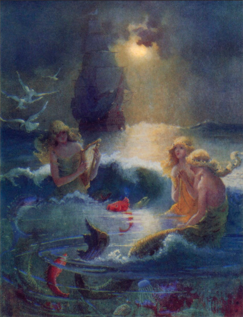 Gertrude Alice Kay: Moonlight Mermaids — 1916
