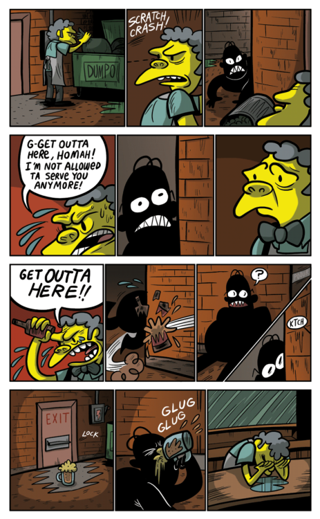 gunshowcomic:  Poor poor Dark Homer. His story is getting sadder the more we pry at it. Poor poor Dark Homer.But enough of that! I still got the Anime Club book out! And friend of the show Robert Harmon has been making a motion comic of sorts out of the Anime Club saga! He's done 1, 2, 2.5, and just put out part 3! Check them out and be cool about it! C'mon just be a pal.REMINDER, I will be at MICE tomorrow in Cambridge, MA! I'll have Anime Club, Midnite Surprise, and that's about it! It's free to get in so just come on by and say hi or something! I can even draw ya a thing!